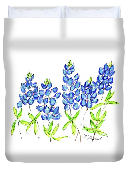 Texas Bluebonnets Watercolor Painting By Kmcelwaine Duvet Cover