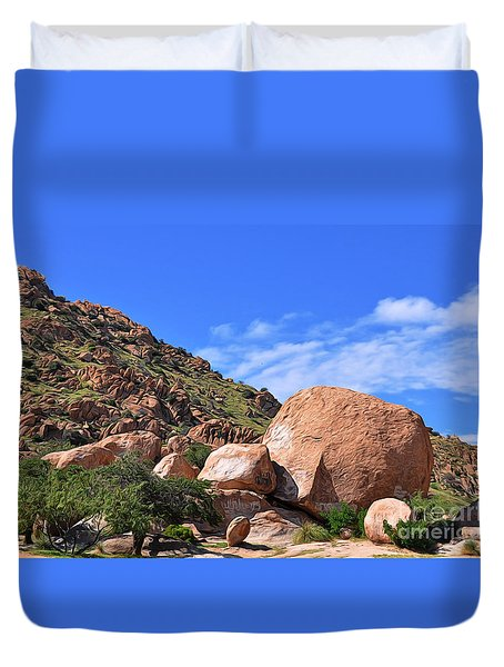 Duvet Cover featuring the photograph Texas Canyon Arizona by Gina Savage