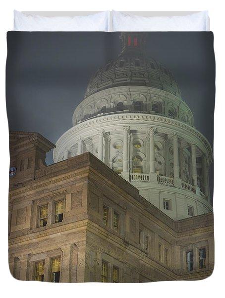 Texas Capitol In Fog Duvet Cover