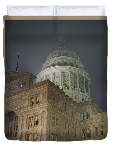 Texas Capitol In Fog Duvet Cover