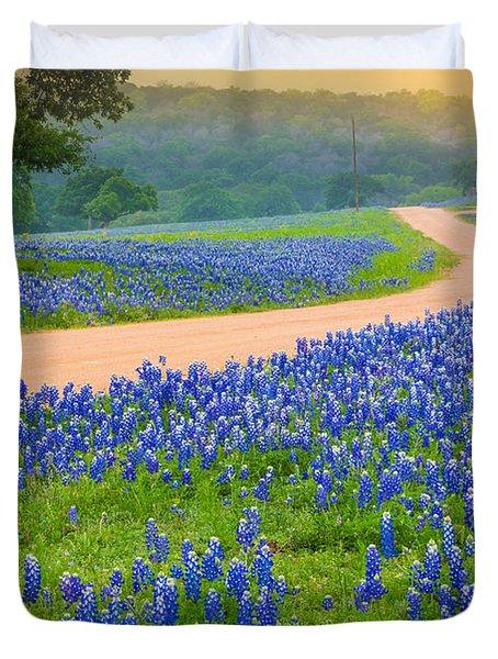 Texas Country Road Duvet Cover