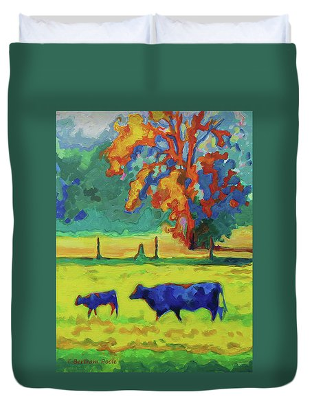 Texas Cow And Calf At Sunset Print Bertram Poole Duvet Cover