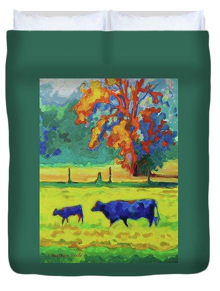 Texas Cow And Calf At Sunset Print Bertram Poole Duvet Cover
