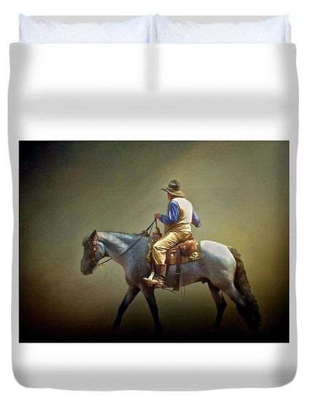 Duvet Cover featuring the photograph Texas Cowboy And His Horse by David and Carol Kelly