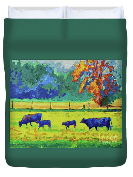 Texas Cows And Calves At Sunset Painting T Bertram Poole Duvet Cover by Thomas Bertram POOLE