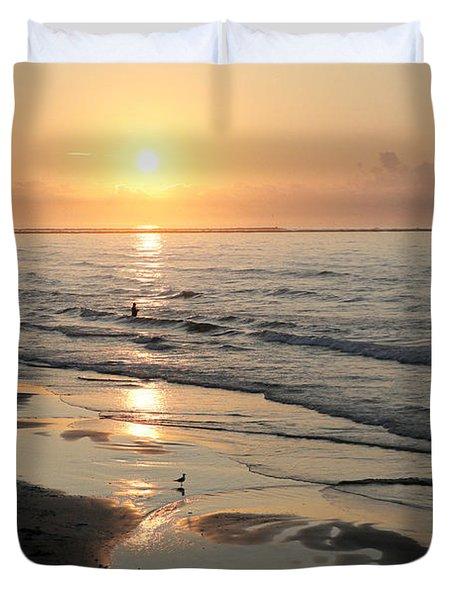 Texas Gulf Coast At Sunrise Duvet Cover