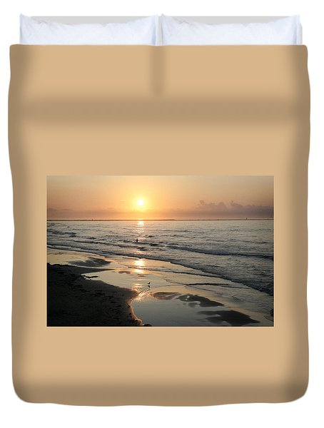 Texas Gulf Coast At Sunrise Duvet Cover by Marilyn Hunt