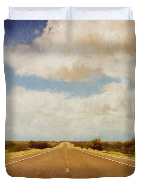 Texas Highway Duvet Cover