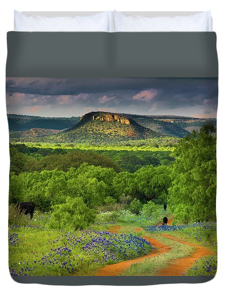 Texas Hill Country Ranch Road Duvet Cover