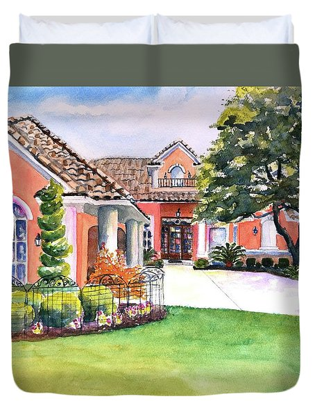 Texas Home Spanish Tuscan Architecture  Duvet Cover