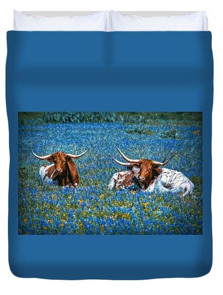 Texas In Blue Duvet Cover