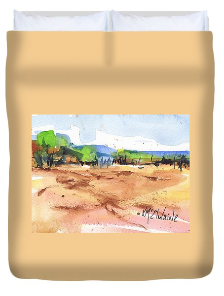Texas Landscape In Watercolor Painting By Kmcelwaine Duvet Cover