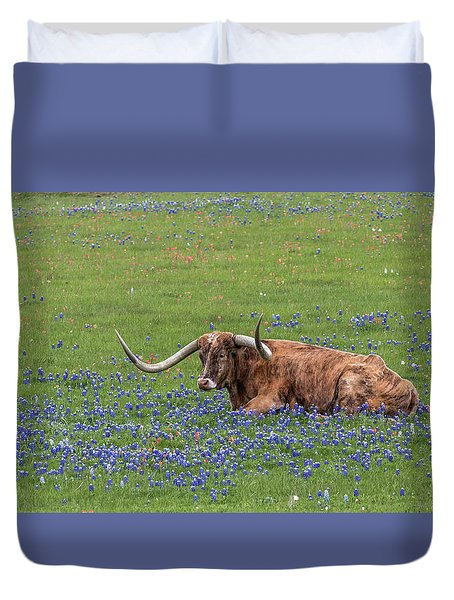 Duvet Cover featuring the photograph Texas Longhorn And Bluebonnets by Robert Bellomy