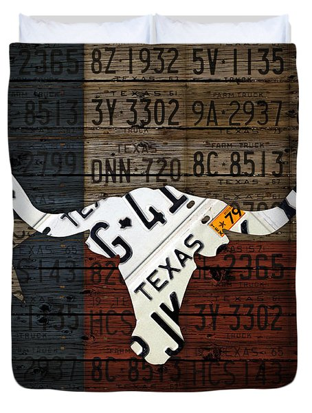 Texas Longhorn And Lone Star State Flag Recycled Vintage License Plate Art Duvet Cover