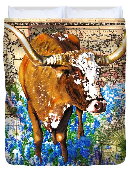 Texas Longhorn In Bluebonnets Duvet Cover