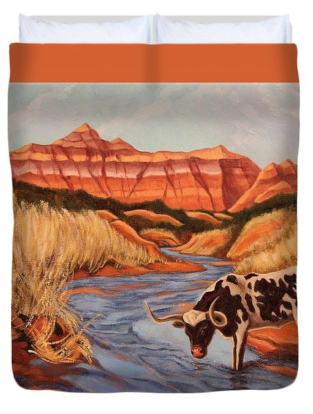 Texas Longhorn In Palo Duro Canyon Duvet Cover