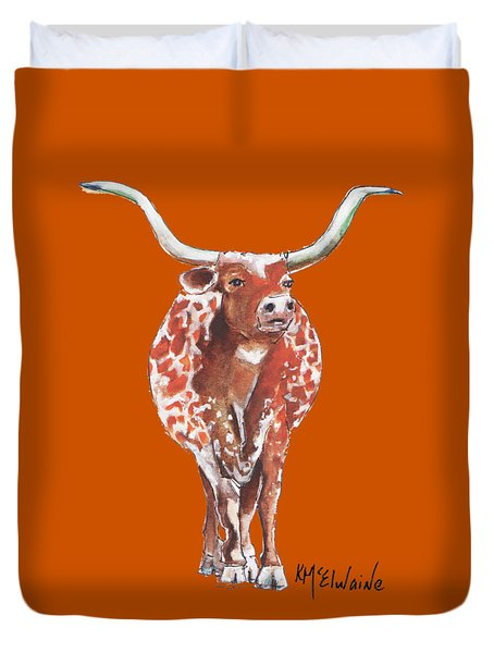 Texas Longhorn Taking The Lead Watercolor Painting By Kmcelwaine Duvet Cover
