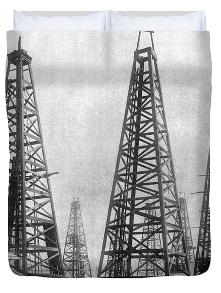 Texas: Oil Derricks, C1901 Duvet Cover