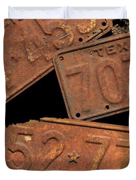 Texas Plates Duvet Cover