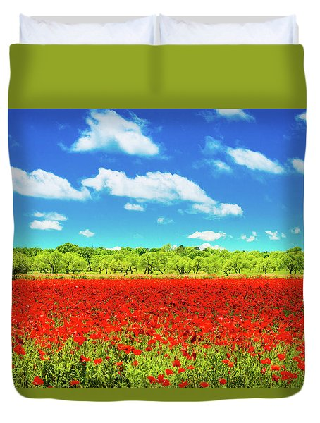 Texas Red Poppies Duvet Cover
