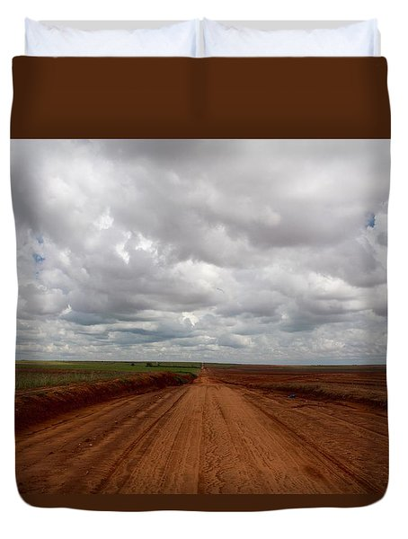 Texas Red Road Duvet Cover by Suzanne Lorenz