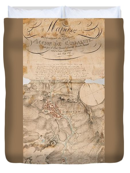 Texas Revolution Santa Anna 1835 Map For The Battle Of San Jacinto  Duvet Cover