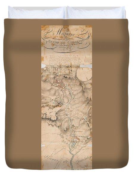 Texas Revolution Santa Anna 1835 Map For The Battle Of San Jacinto  Duvet Cover