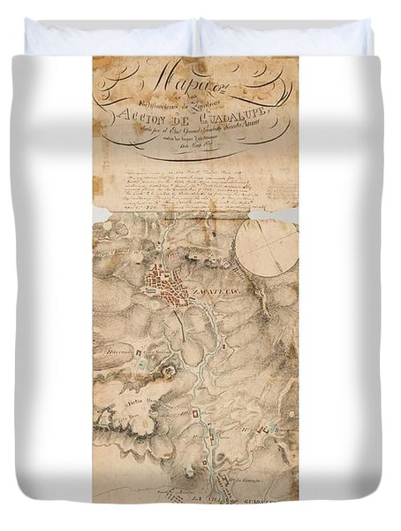 Texas Revolution Santa Anna 1835 Map For The Battle Of San Jacinto With Border Duvet Cover