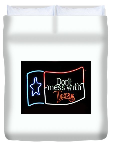 Duvet Cover featuring the photograph Texas Flag Saloon Neon by Daniel Hagerman