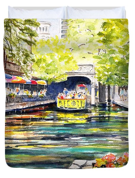 Texas San Antonio River Walk Duvet Cover