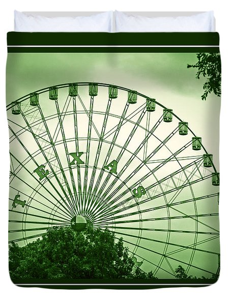 Texas Star In Green Duvet Cover
