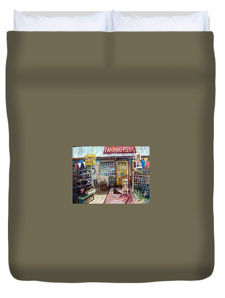 Texas Store Front Duvet Cover by Linda Shackelford