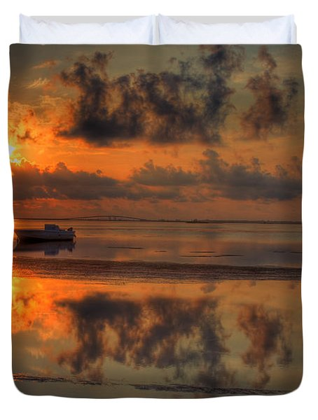 Texas Sunset Gulf Of Mexico Duvet Cover by Kevin Hill