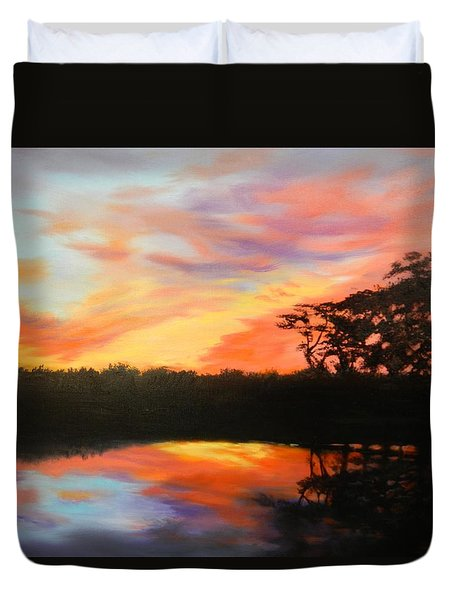 Texas Sunset Silhouette Duvet Cover
