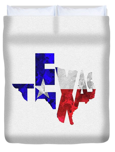 Texas Typographic Map Flag Duvet Cover