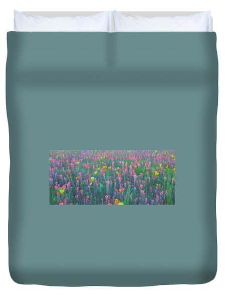Texas Wildflowers Abstract Duvet Cover