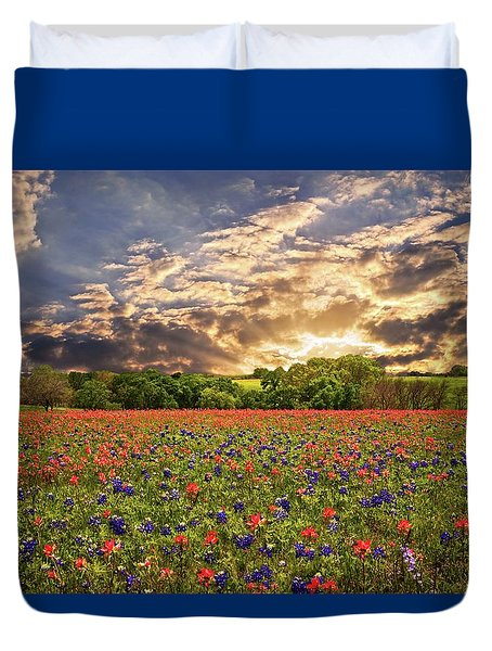 Texas Wildflowers Under Sunset Skies Duvet Cover