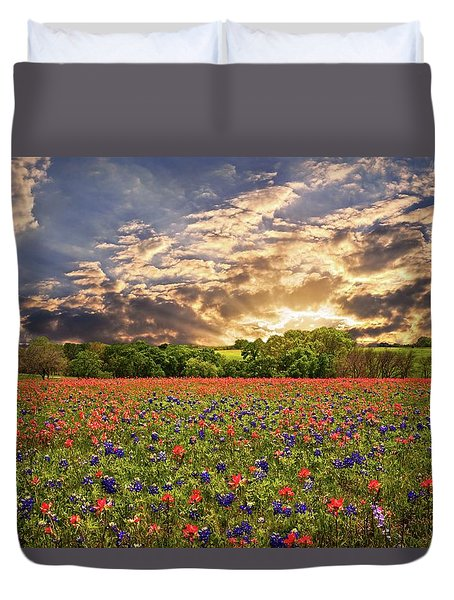 Texas Wildflowers Under Sunset Skies Duvet Cover