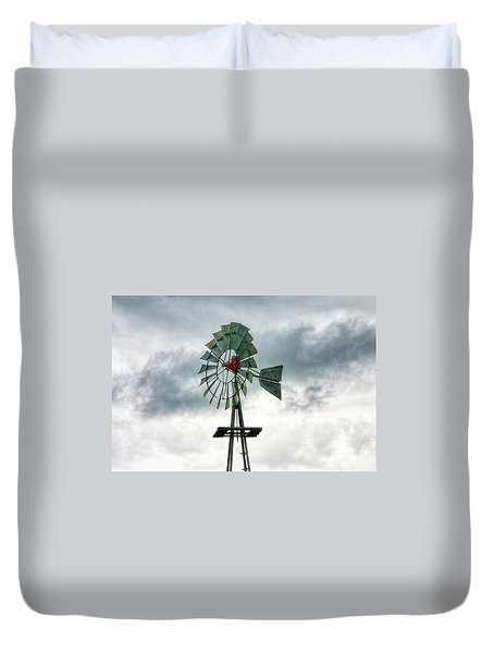 Texas Windmill Duvet Cover
