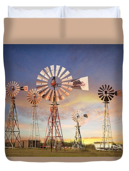 Texas Windmills Duvet Cover