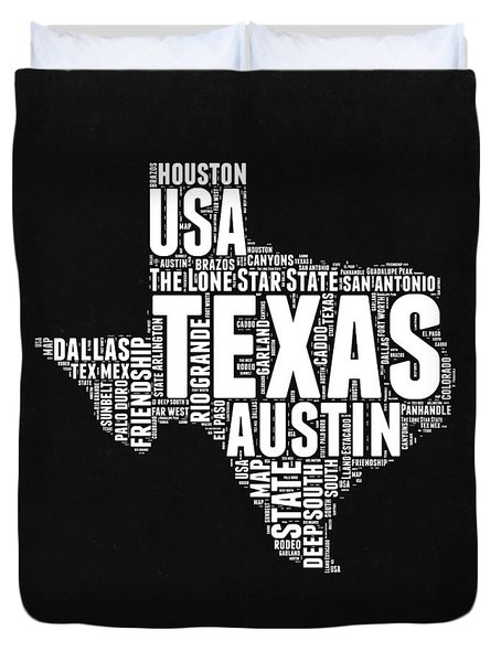 Texas Word Cloud Black And White Map Duvet Cover