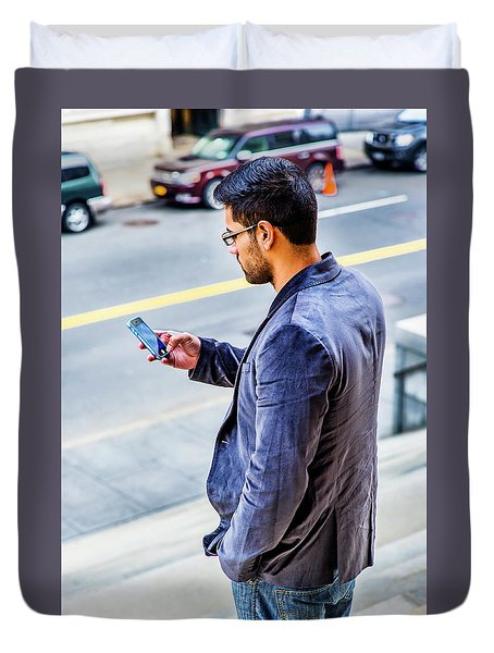 Man Texting Duvet Cover