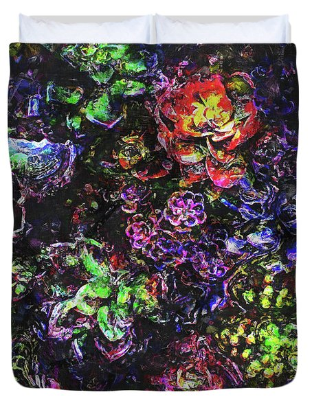 Textural Garden Plants Duvet Cover