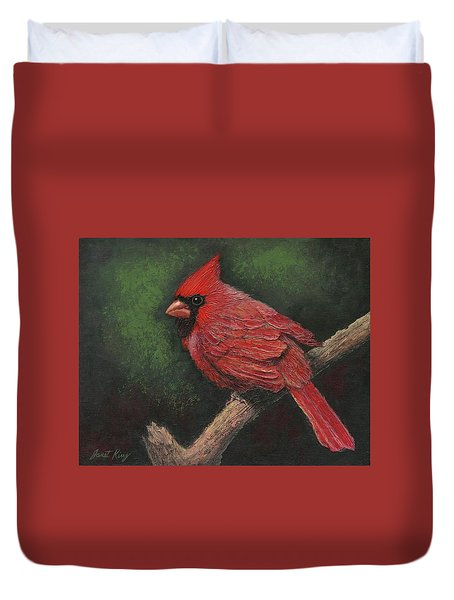 Duvet Cover featuring the painting Textured Cardinal by Janet King