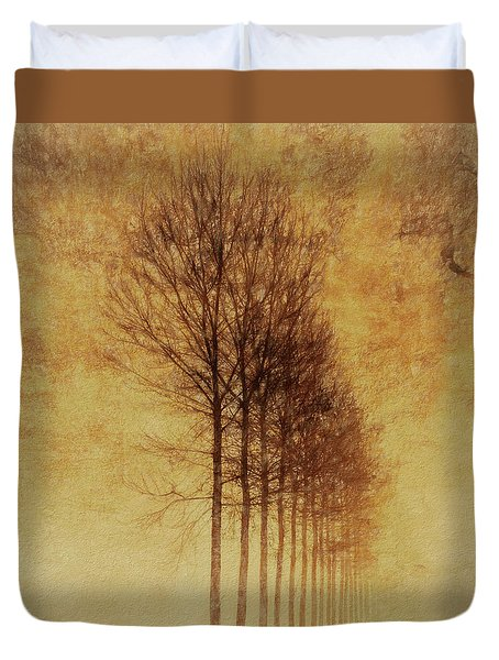 Duvet Cover featuring the mixed media Textured Eerie Trees by Dan Sproul