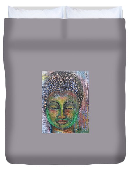Duvet Cover featuring the painting Textured Green Buddha by Prerna Poojara