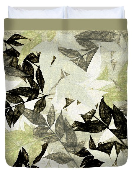 Duvet Cover featuring the digital art Textured Leaves Abstract By Kaye Menner by Kaye Menner