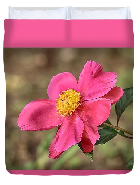 Duvet Cover featuring the photograph Textured Pink Peony by Lynn Hopwood