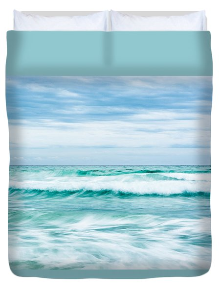 Textures In The Waves Duvet Cover by Shelby  Young