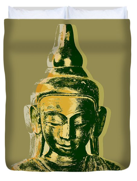Duvet Cover featuring the digital art Thai Buddha #4 Pop Art Warhol Style Print.  by Jean luc Comperat